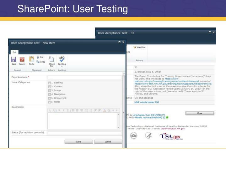 SharePoint: User Testing