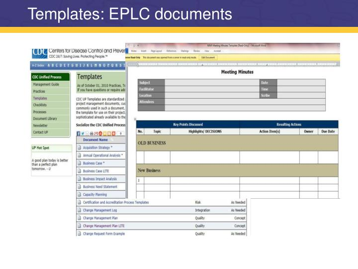 Templates: EPLC documents