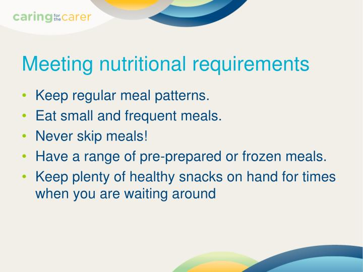 Meeting nutritional requirements