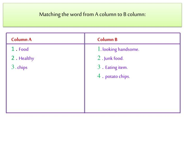 Matching the word from A column to B column: