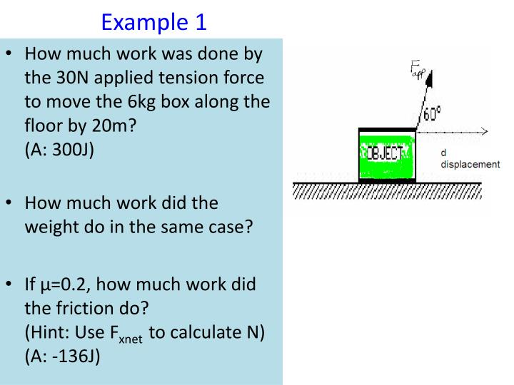How much work was done by the 30N applied tension force  to move the 6kg box along the floor by 20m?