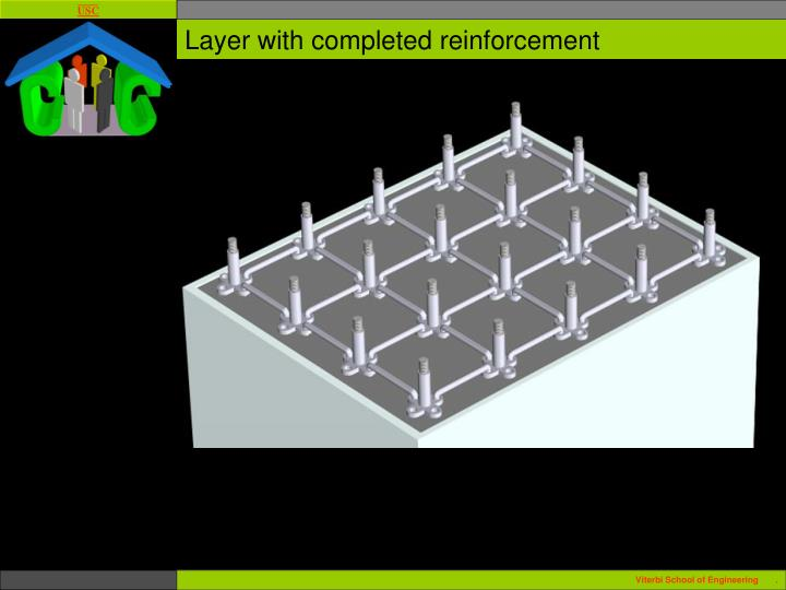 Layer with completed reinforcement