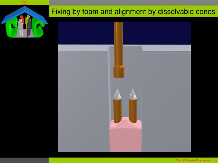 Fixing by foam and alignment by dissolvable cones