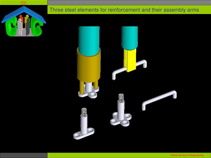Three steel elements for reinforcement and their assembly arms