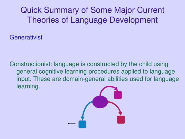 Quick Summary of Some Major Current Theories of Language Development