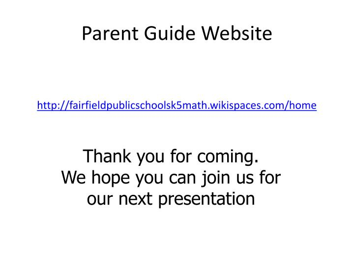 Parent Guide Website