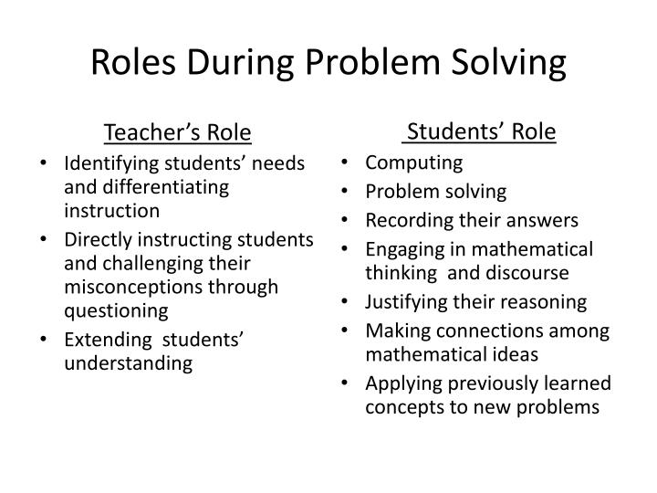Roles During Problem Solving