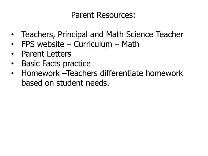 Parent Resources: