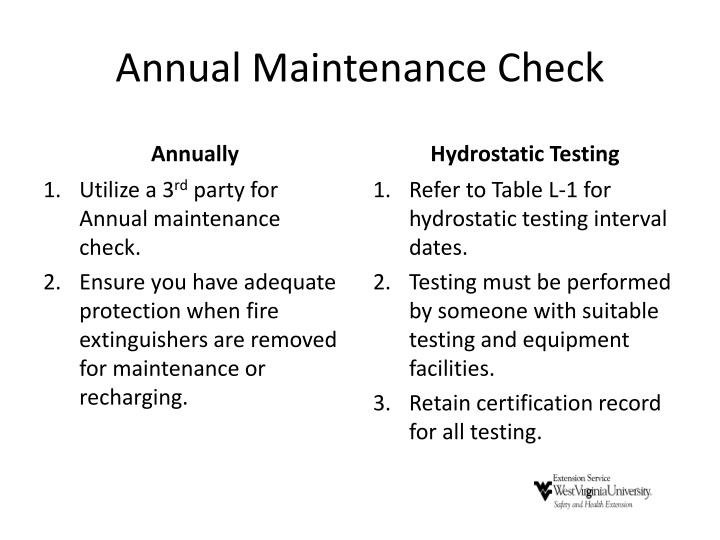 Annual Maintenance Check