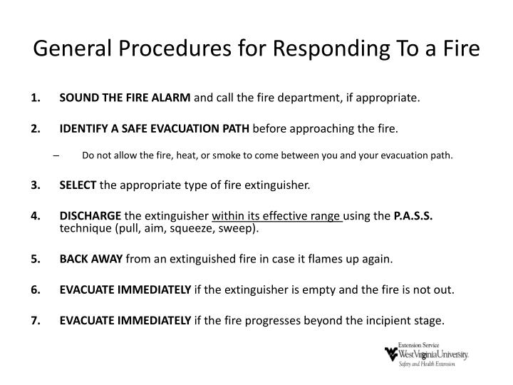 General Procedures for Responding To a Fire