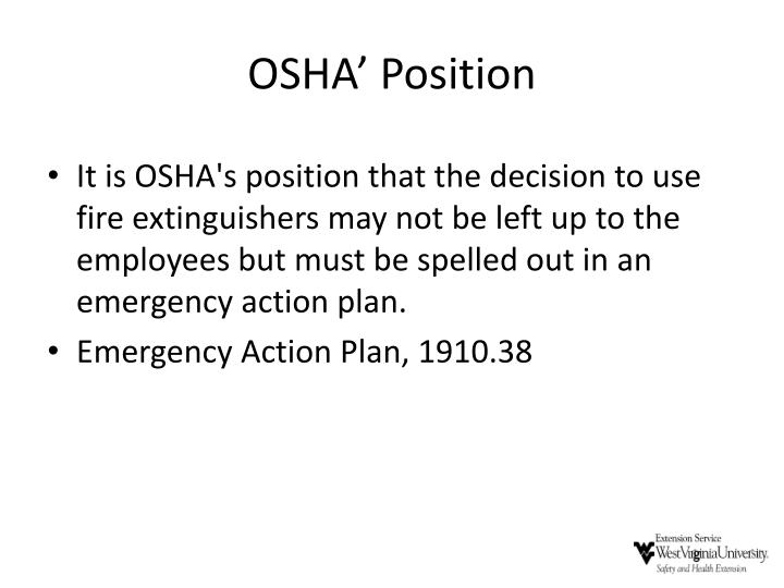 OSHA' Position