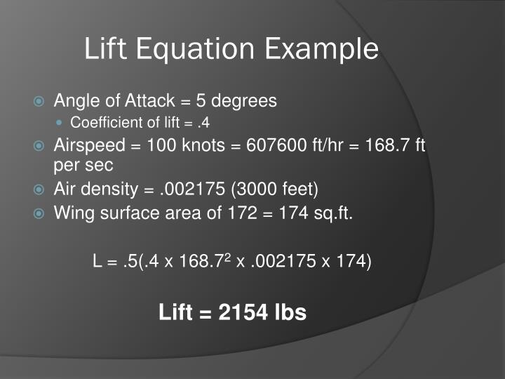 Lift Equation Example