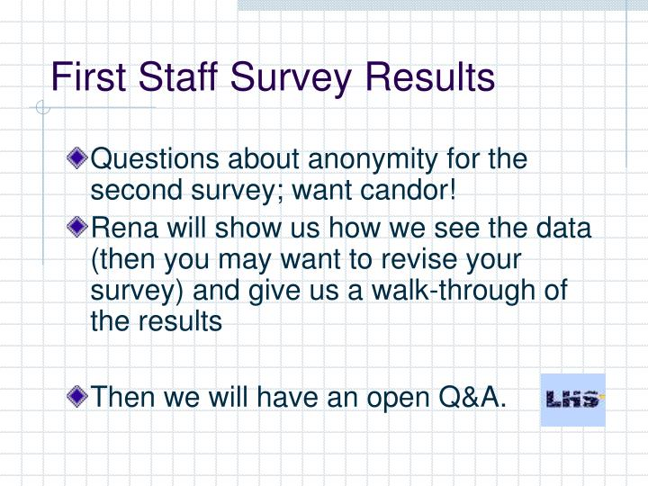 First Staff Survey Results