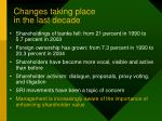 changes taking place in the last decade