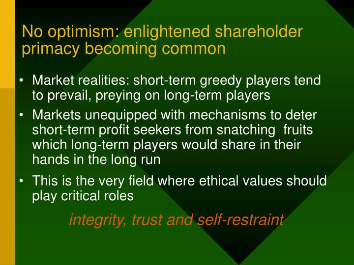 No optimism: enlightened shareholder primacy becoming common
