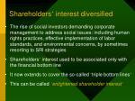shareholders interest diversified
