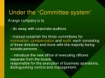 under the committee system