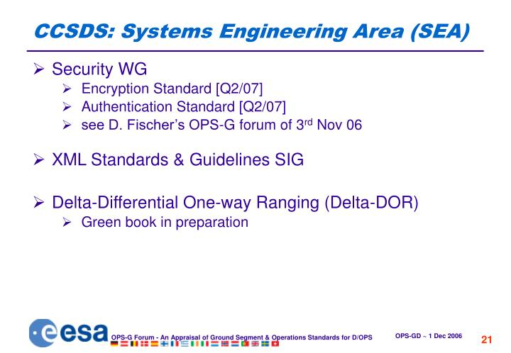 CCSDS: Systems Engineering Area (SEA)