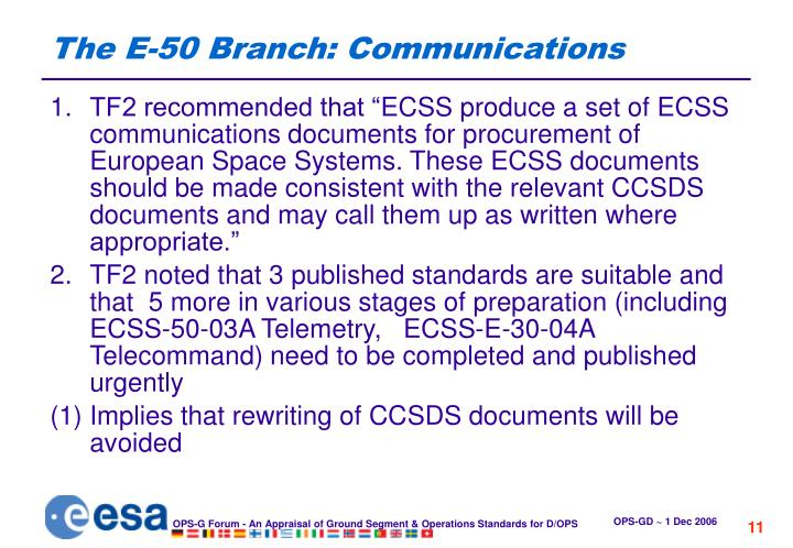 The E-50 Branch: Communications