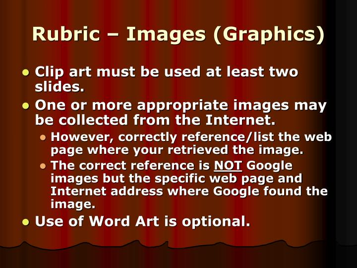 Rubric – Images (Graphics)