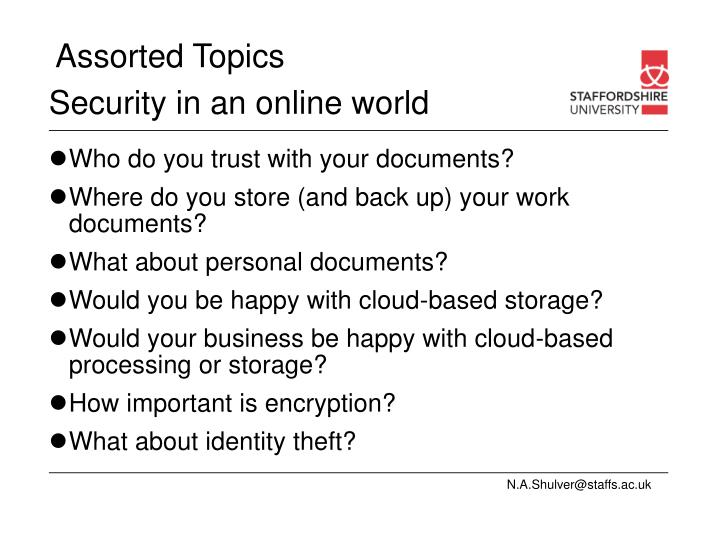 Security in an online world