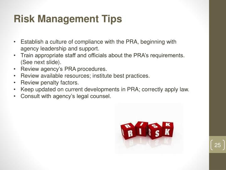 Risk Management Tips
