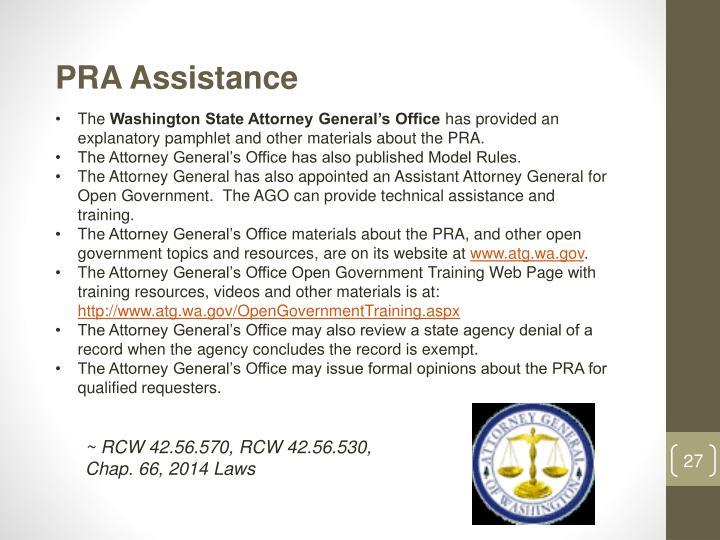 PRA Assistance