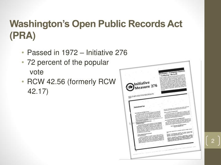 Washington's Open Public Records Act (PRA)