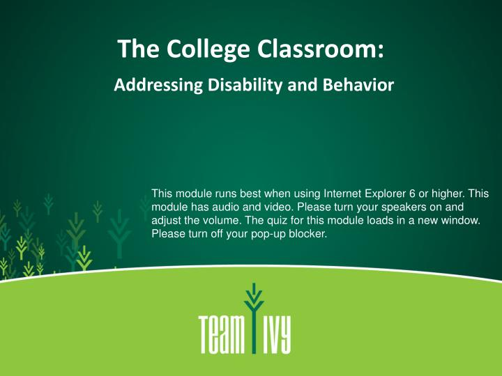 The college classroom addressing disability and behavior