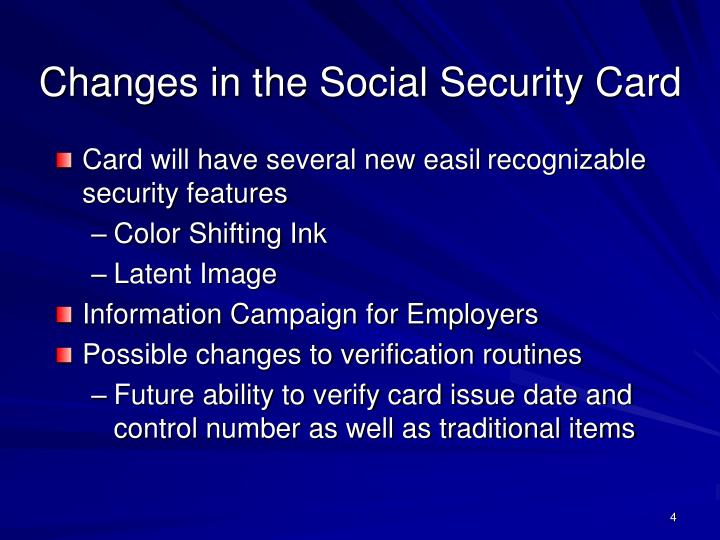Changes in the Social Security Card