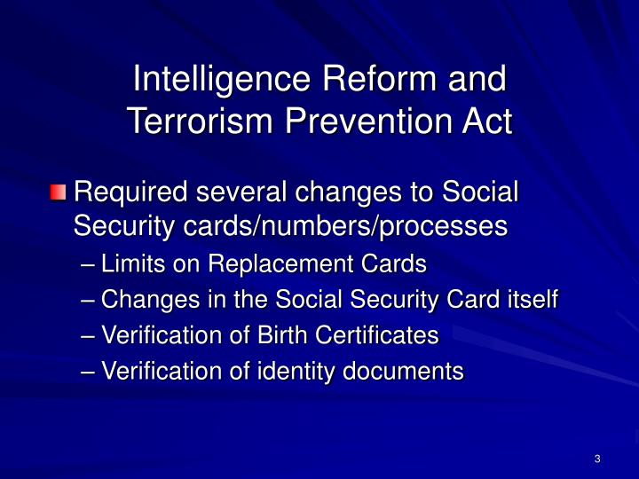 Intelligence reform and terrorism prevention act