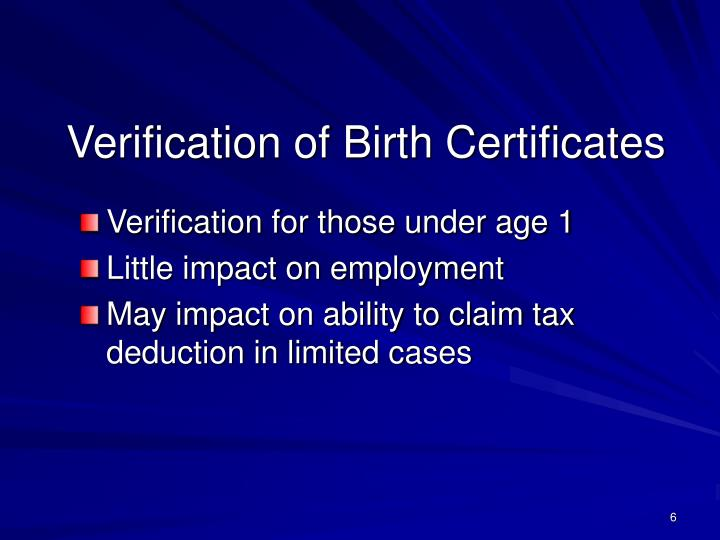Verification of Birth Certificates