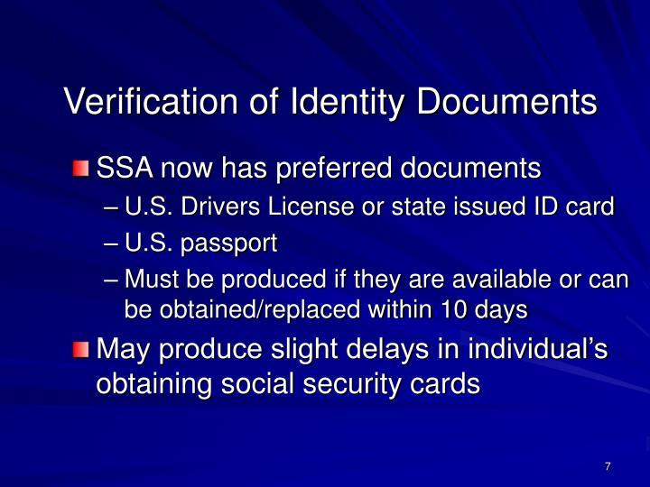 Verification of Identity Documents