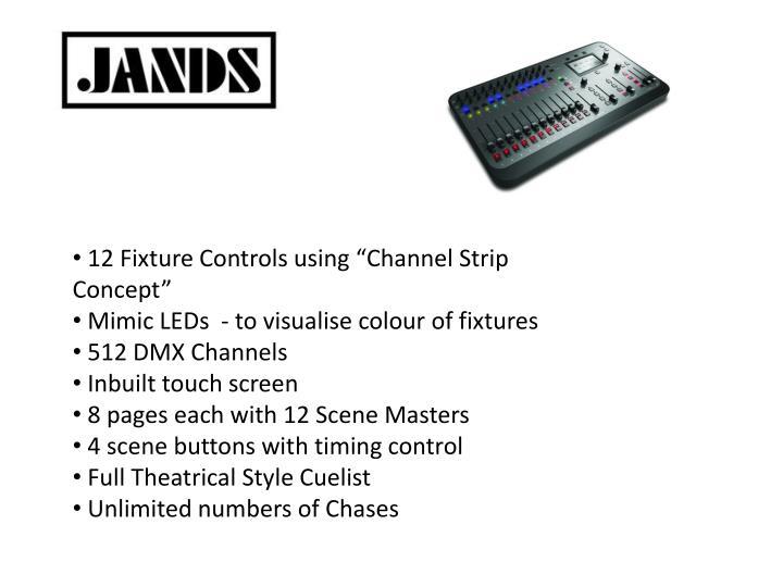 "12 Fixture Controls using ""Channel Strip Concept"""