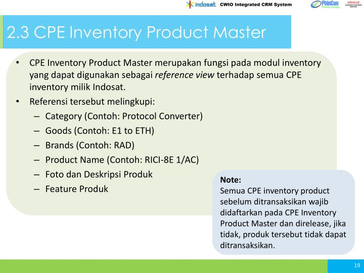 2.3 CPE Inventory Product Master