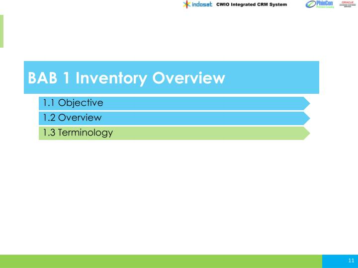 BAB 1 Inventory Overview