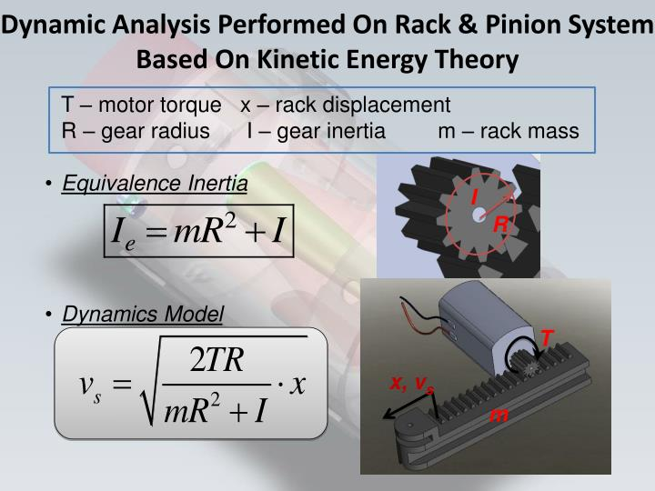 Dynamic Analysis Performed On Rack & Pinion System Based On Kinetic Energy Theory
