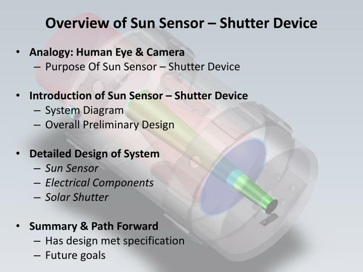 Overview of Sun Sensor – Shutter Device