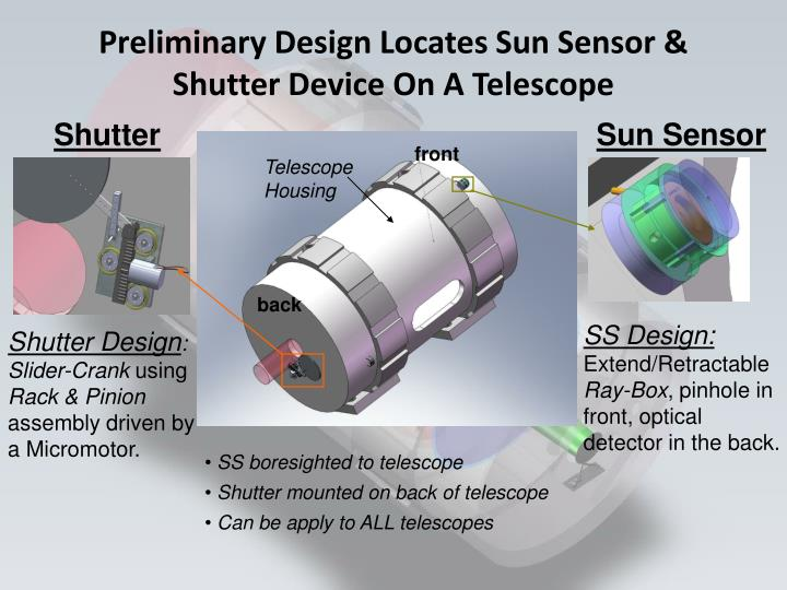 Preliminary Design Locates Sun Sensor & Shutter Device On A Telescope