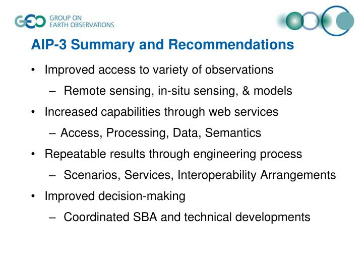 AIP-3 Summary and Recommendations