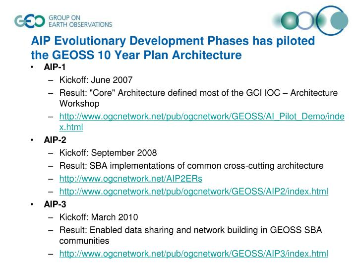 AIP Evolutionary Development Phases has piloted the GEOSS 10 Year Plan Architecture