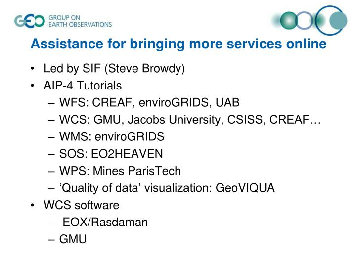 Assistance for bringing more services online
