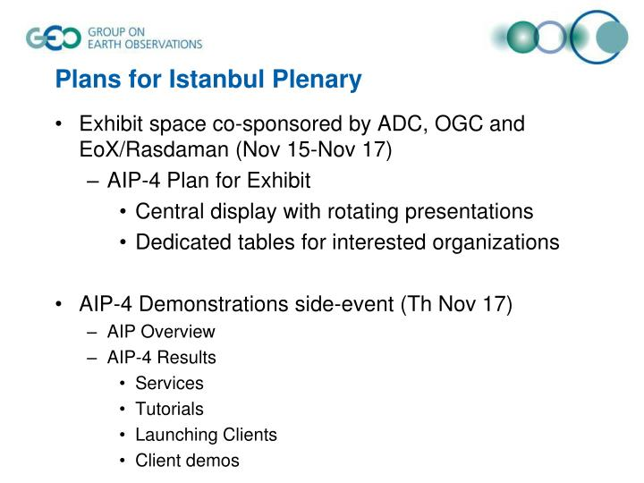 Plans for Istanbul Plenary
