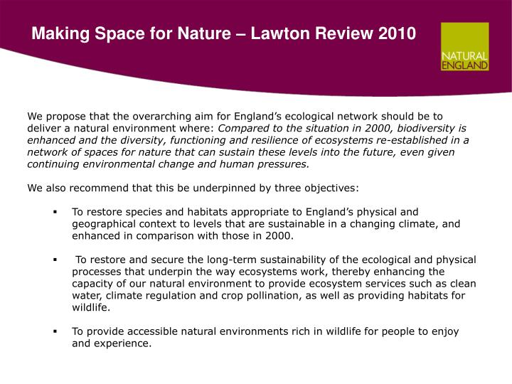 Making Space for Nature – Lawton Review 2010