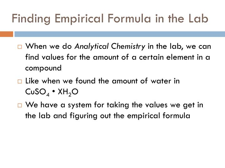 determining the empirical formula of magnesium Free essay: chemistry lab report example: chemistry laboratory report (magnesium oxide) introduction: as we learned before on how to determine the empirical.