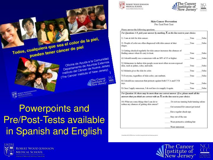 Powerpoints and Pre/Post-Tests available in Spanish and English