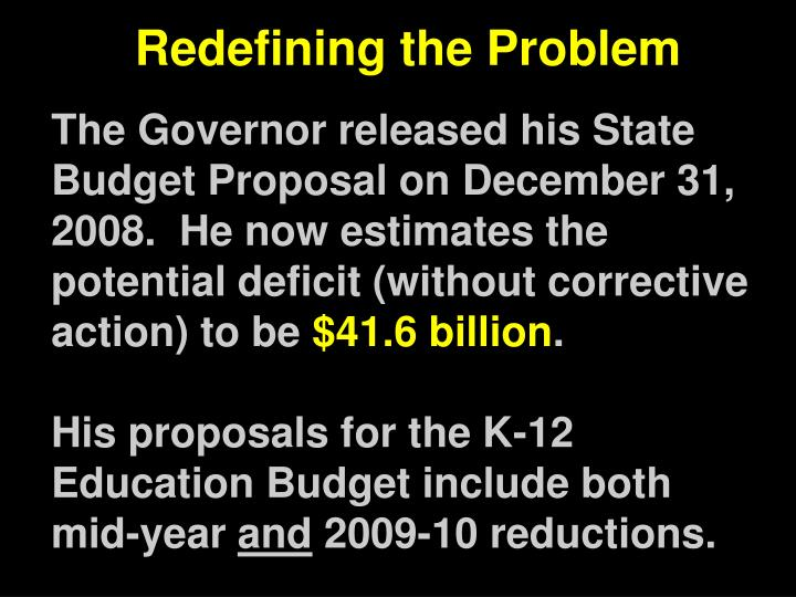 The Governor released his State Budget Proposal on December 31, 2008.  He now estimates the potential deficit (without corrective action) to be
