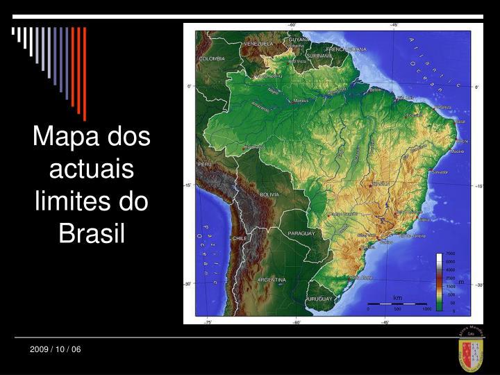 Mapa dos actuais limites do Brasil