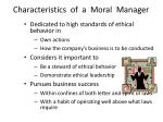 characteristics of a moral manager
