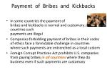 payment of bribes and kickbacks
